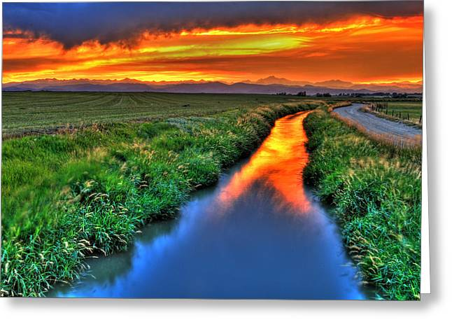 Stream Of Light Greeting Card by Scott Mahon