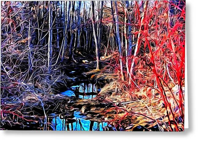 Stream Red And Blue Greeting Card