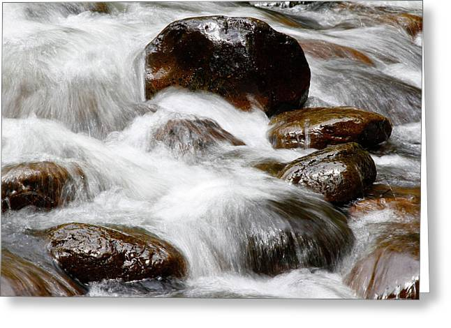Stream Rocks Greeting Card by Les Cunliffe