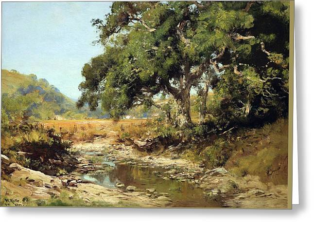 Stream Through The Valley Greeting Card by William Keith
