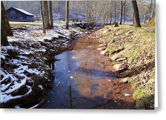 Stream With Snow And Ice Greeting Card by Terry  Wiley