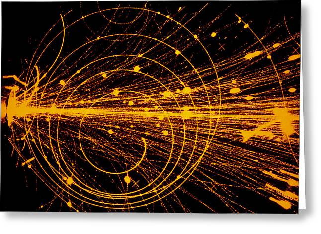 Cern Greeting Cards - Streamer Chamber Photo Of Oxygen Ion Collision Greeting Card by Cern