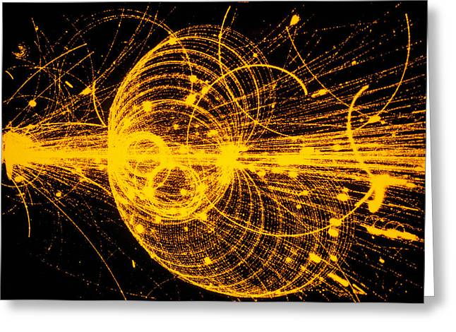 Streamer Chamber Photo Of Particle Tracks Greeting Card by Cern