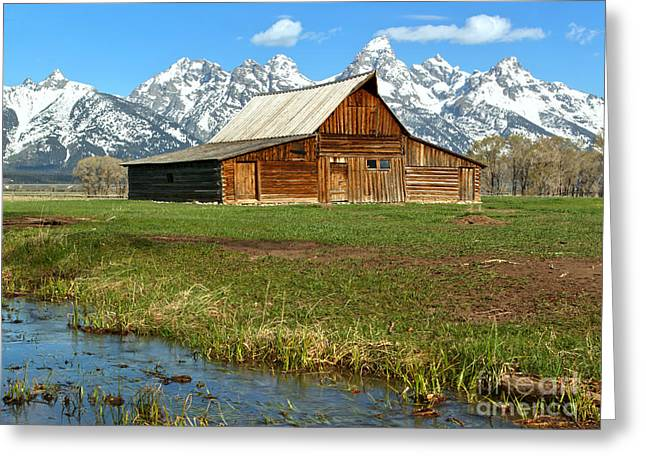 Streaming By The Moulton Barn Greeting Card by Adam Jewell