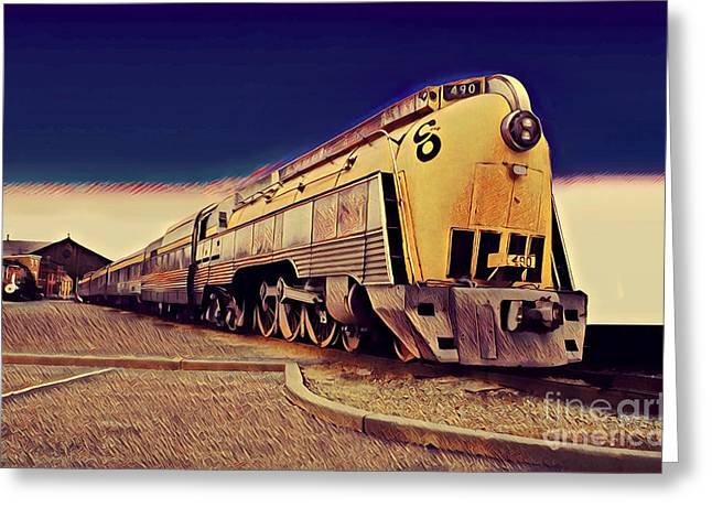 Streamlined Alco 4-6-4, Co 490  Hudson Type Locomotive Greeting Card by Wernher Krutein