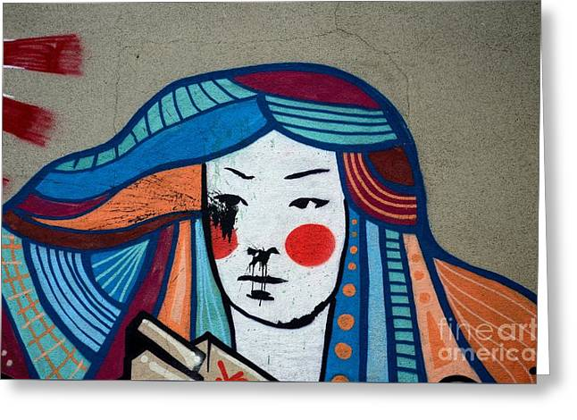 Street Art Graffiti Of Japanese Lady With Colorful Hair Belgrade Serbia Greeting Card by Imran Ahmed