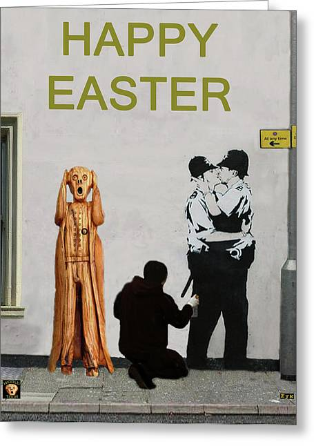 Police Mixed Media Greeting Cards - Street Art Scream Police Greeting Card by Eric Kempson