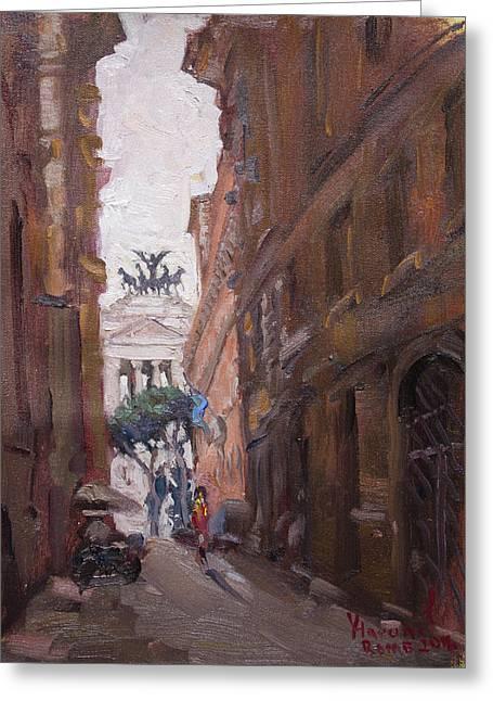 Street At Piazza Venezia Rome Greeting Card by Ylli Haruni