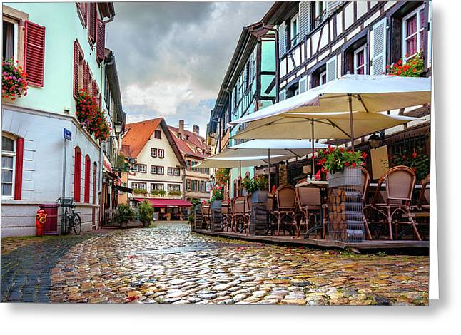 Greeting Card featuring the photograph Street Cafe After The Rain by Dmytro Korol