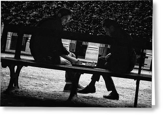 Street Chess #chess #game #bench #park Greeting Card