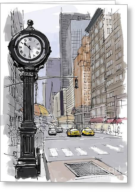 Street Clock On 5th Avenue Handmade Sketch Greeting Card