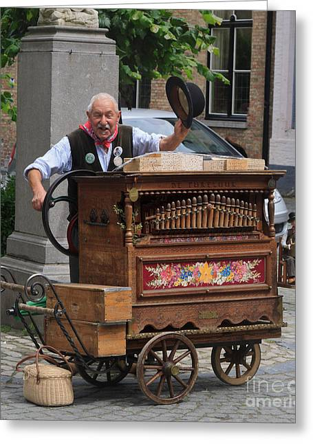 Street Entertainer In Bruges Belgium Greeting Card by Louise Heusinkveld