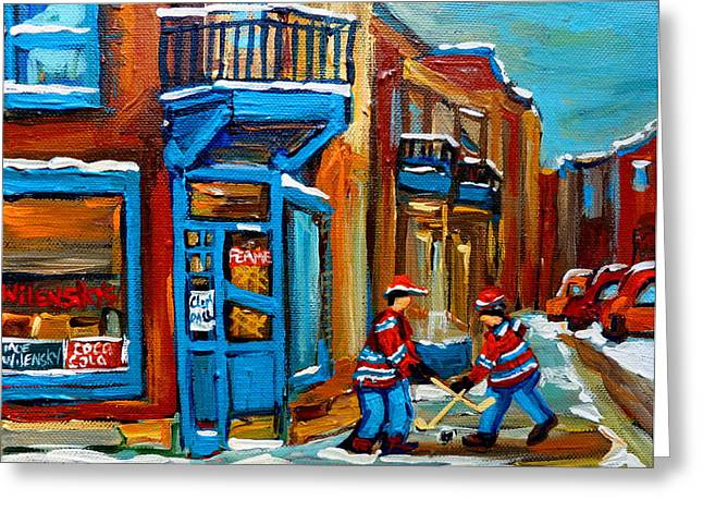 Street Hockey At Wilensky's Montreal Greeting Card by Carole Spandau