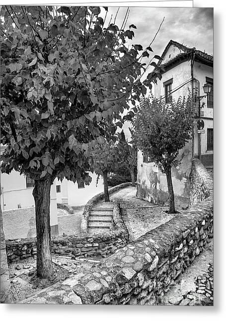Street In Historic Albaycin In Granada Bw Greeting Card by Guido Montanes Castillo