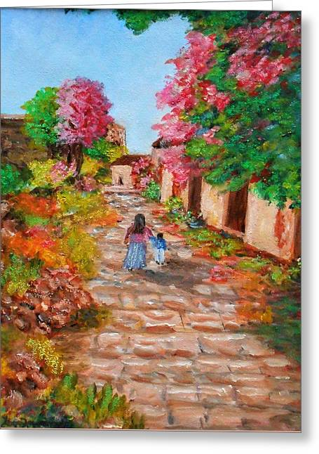 Street In Monemvasia Greeting Card