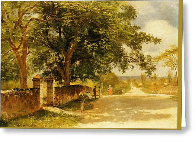Street In Nassau Greeting Card by Albert Bierstadt