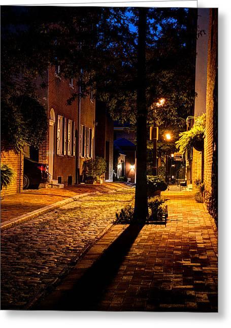 Street In Olde Town Philadelphia Greeting Card by Mark Dodd