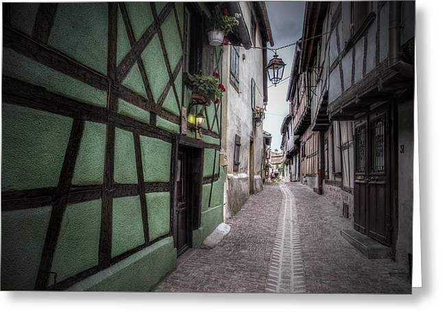 Street In Riquewihr, Alsace Greeting Card