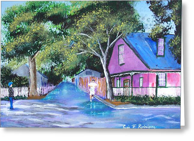 Street In St Augustine Greeting Card by Luis F Rodriguez