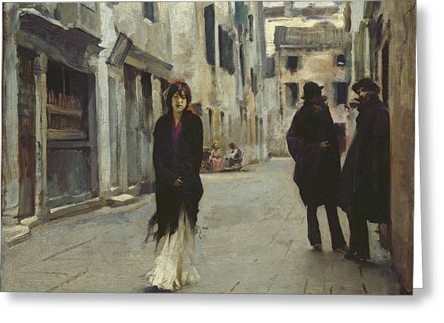 Street In Venice,  Greeting Card by John Singer Sargent