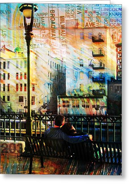 Street Lamp Bench Abstract W Map Greeting Card by Anita Burgermeister
