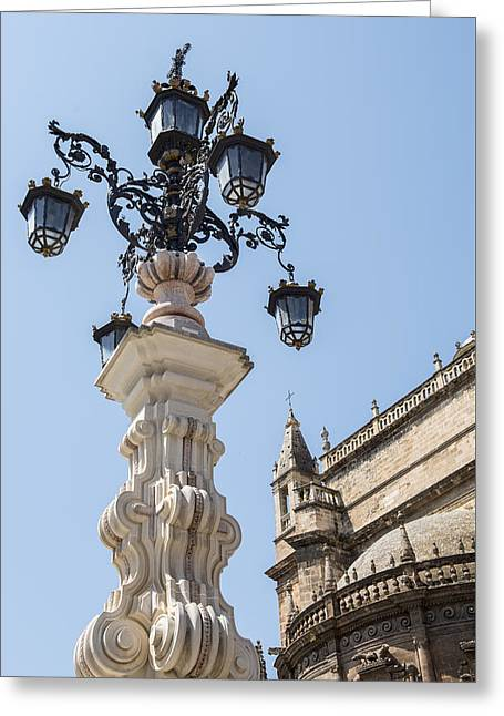 Street Lamp - Cathedral Of Seville - Seville Spain Greeting Card