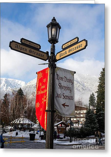 Street Lamp Leavenworth, Washington Greeting Card by Jason O Watson