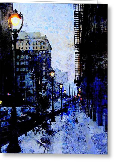 Street Lamps Sidewalk Abstract Greeting Card