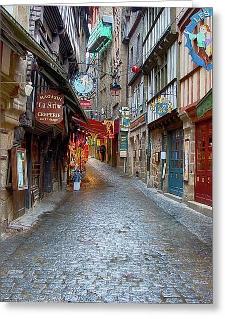 Street Le Mont Saint Michel Greeting Card by Hugh Smith