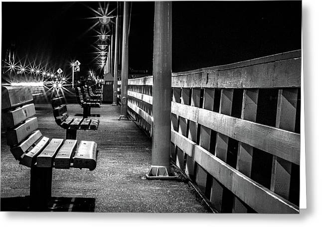 Greeting Card featuring the photograph Santa Cruz Wharf At Night by Randy Bayne