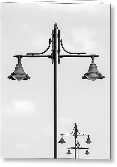 Street Lights Greeting Card by Wim Lanclus