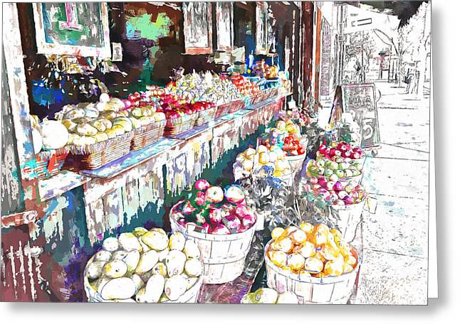 Street Market Greeting Card by John K Woodruff