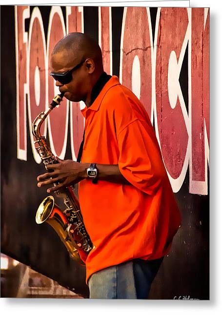 Street Music Greeting Card by Christopher Holmes