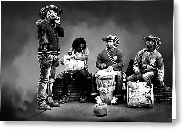 Street Music Greeting Card by Maria Coulson