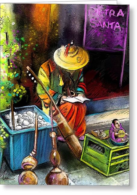 Street Musician In Pietrasanta In Italy Greeting Card by Miki De Goodaboom