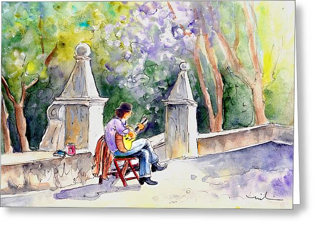 Street Musician In Pollenca Greeting Card by Miki De Goodaboom