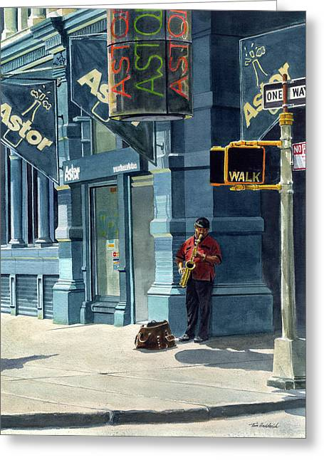Street Musician Greeting Card by Tom Hedderich