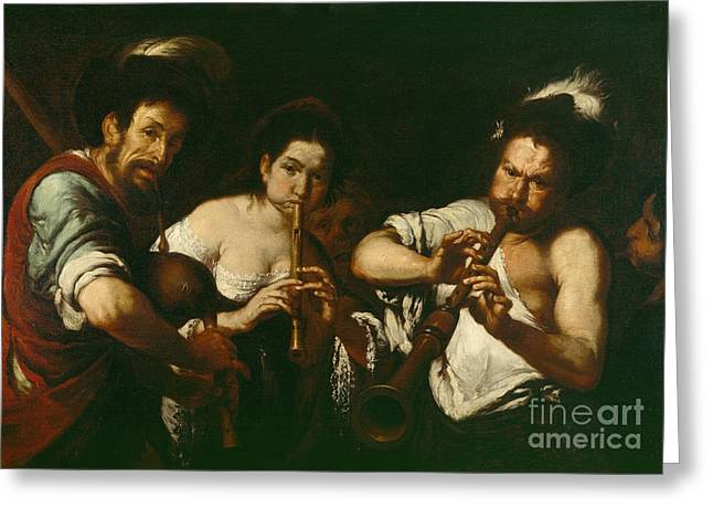 Street Musicians Greeting Card by Bernardo Strozzi