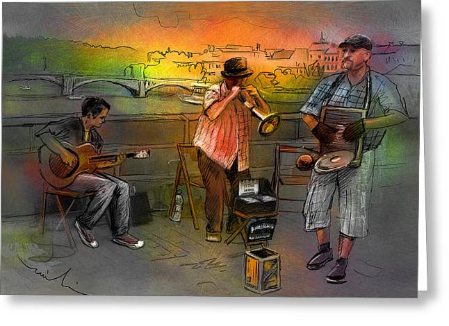 Street Musicians In Prague In The Czech Republic 03 Greeting Card by Miki De Goodaboom