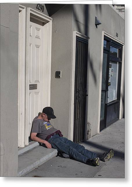 Street Nap Greeting Card by Suzanne Gaff