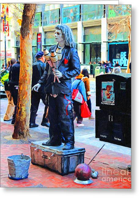 Street Performer 2 . Photoart Greeting Card by Wingsdomain Art and Photography