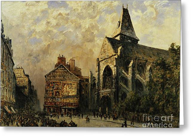 Street Scene Behind The Saint Medard Church, Paris Greeting Card