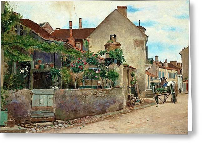 Street Scene From Vichy Greeting Card by Hjalmar Sandberg