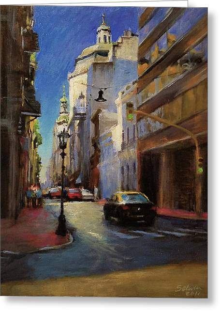 Street Scene In Buenos Aires Greeting Card by Peter Salwen