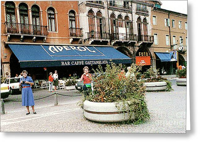 Greeting Card featuring the photograph Street Scene In Padua, Italy by Merton Allen