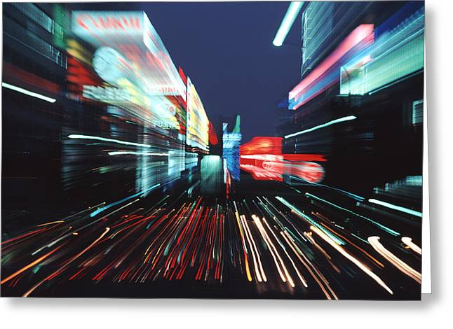 Neon Effects Greeting Cards - Street Scene In Tokyos Ginza District Greeting Card by Ira Block