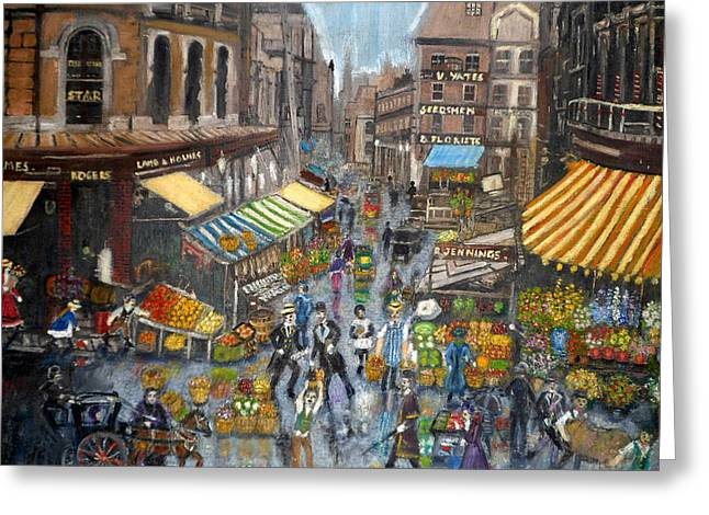 Street Scene Market Greeting Card