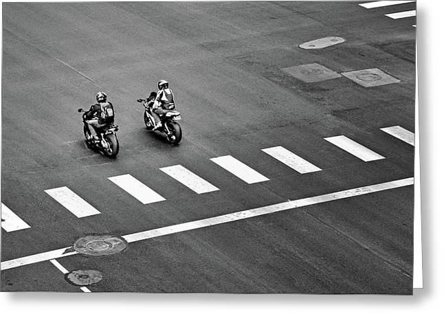 Street Scene - Motorcyclists Greeting Card by Nikolyn McDonald