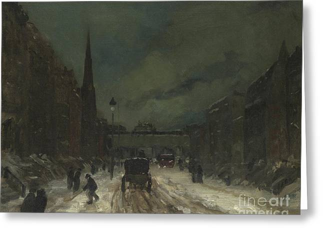 Street Scene With Snow  57th Street, Nyc Greeting Card
