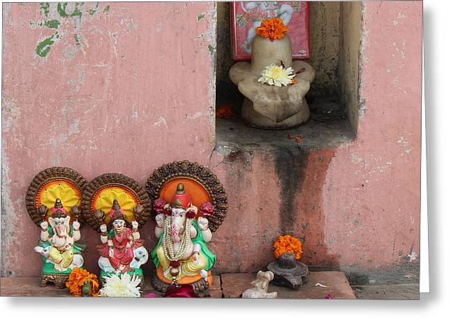 Street Temple, Haridwar Greeting Card by Jennifer Mazzucco